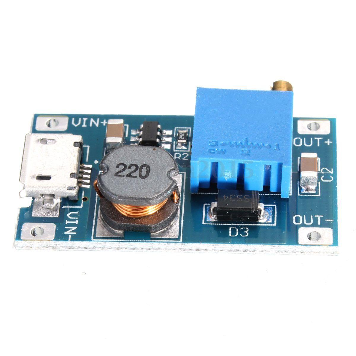 MT3608 2V-28V Micro-USB Step Up Boost Power Supply Voltage Converter Module