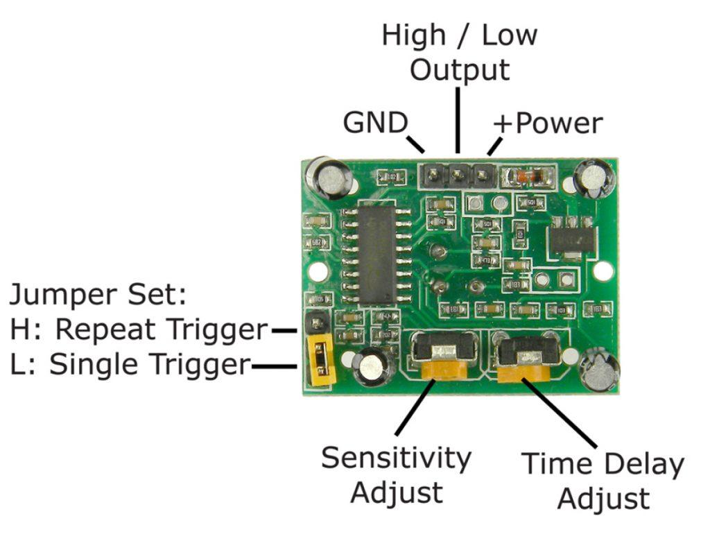 HC-SR501 Motion Detector Module Pinout