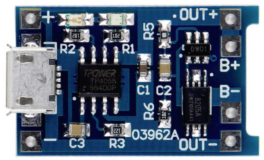 TP4056 + DW01A MicroUSB 5V 1A 18650 Lithium Battery Dual Function Charger Board with Protection Module